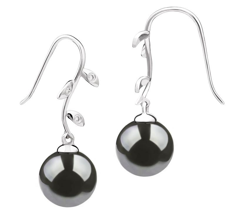 PearlsOnly - Paar Ohrringe mit schwarzen, 9-10mm großen Tihitianischen Perlen in AAA-Qualität , Honora