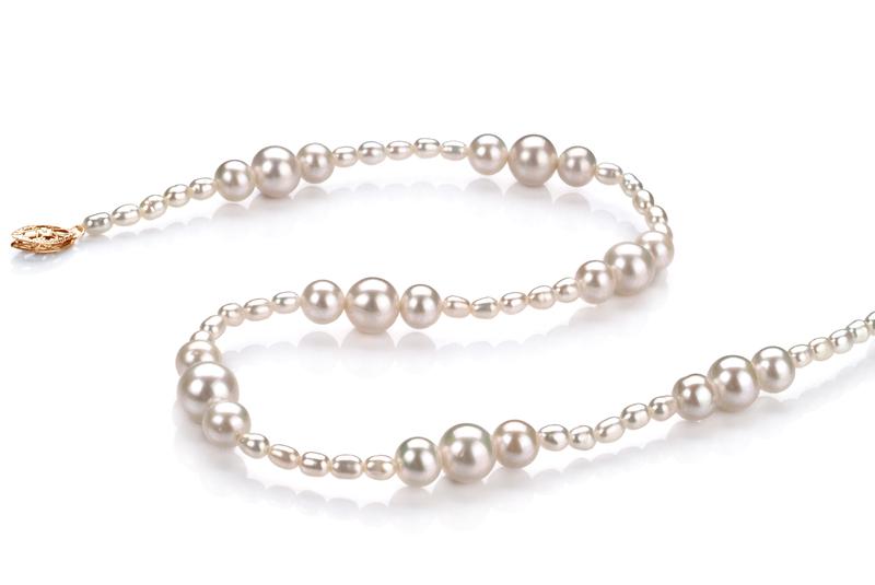 Halskette mit weißen, 3-8mm großen Süßwasserperlen in A-Qualität , Ida