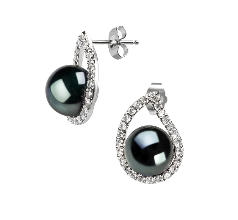 Paar Ohrringe mit schwarzen, 9-10mm großen Süßwasserperlen in AA-Qualität , Isabella