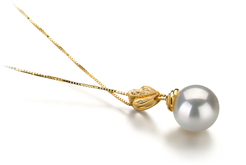 10-11mm AAA-Qualität Südsee Perlenanhänger in Ivana Weiß