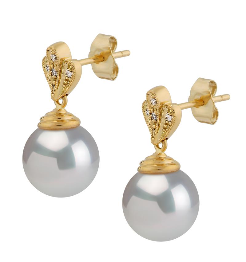 Paar Ohrringe mit weißen, 10-11mm großen Südseeperlen in AAA-Qualität , Ivana