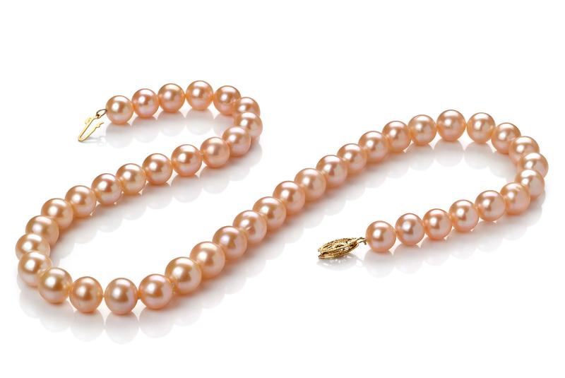 PearlsOnly - Halskette mit rosafarbenen, 8-9mm großen Süßwasserperlen in AA-Qualität , Jada