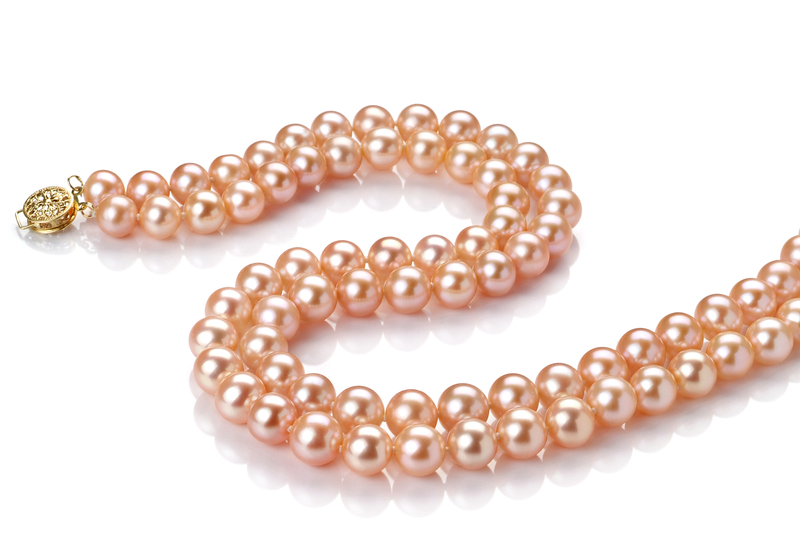 Halskette mit rosafarbenen, 7-8mm großen Süßwasserperlen in AA-Qualität , Jamilia
