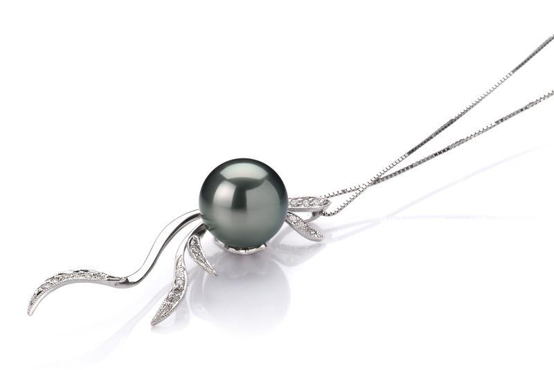Anhänger mit schwarzen, 10-10.5mm großen Tihitianischen Perlen in AAA-Qualität , Janine