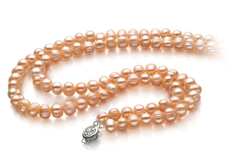 Halskette mit rosafarbenen, 6-7mm großen Süßwasserperlen in A-Qualität , Jara