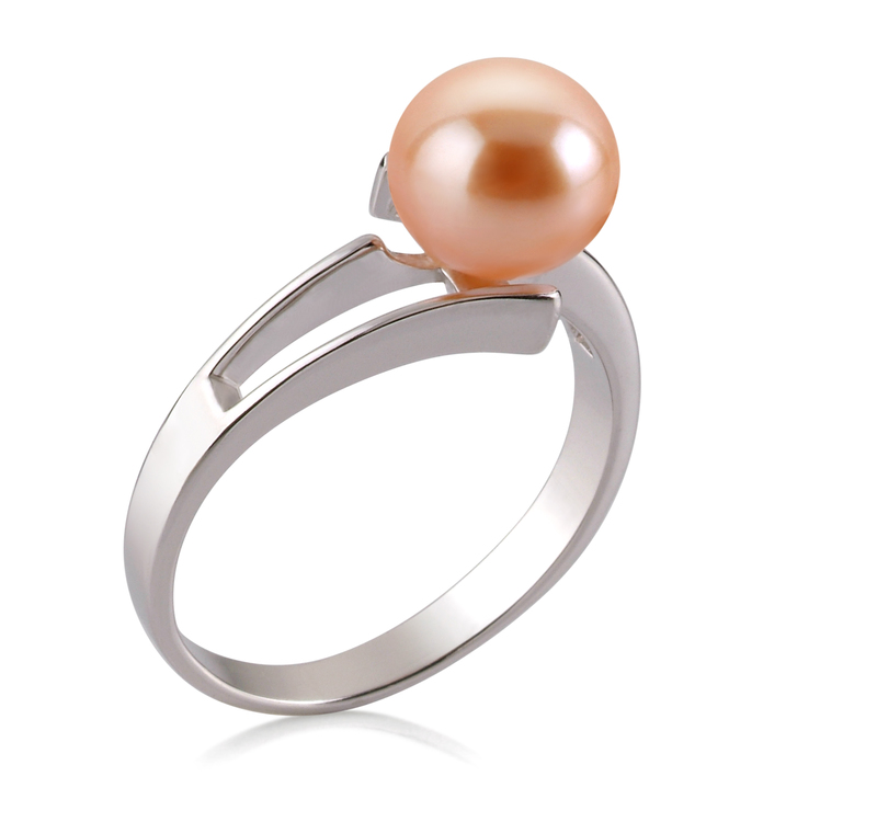 Ring mit rosafarbenen, 7-8mm großen Süßwasserperlen in AAA-Qualität , Jelena