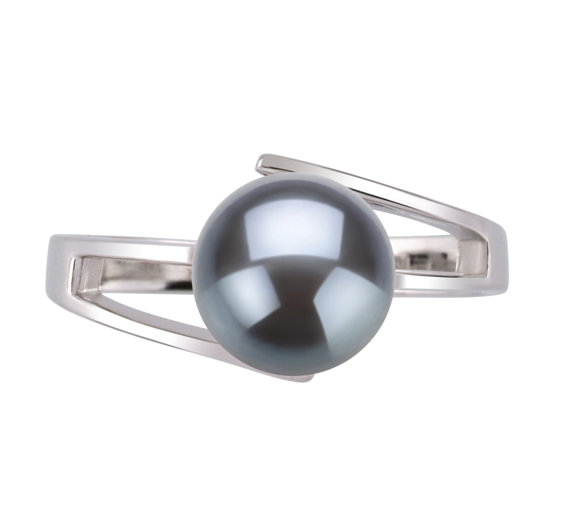 PearlsOnly - Ring mit schwarzen, 7-8mm großen Süßwasserperlen in AAA-Qualität , Jelena