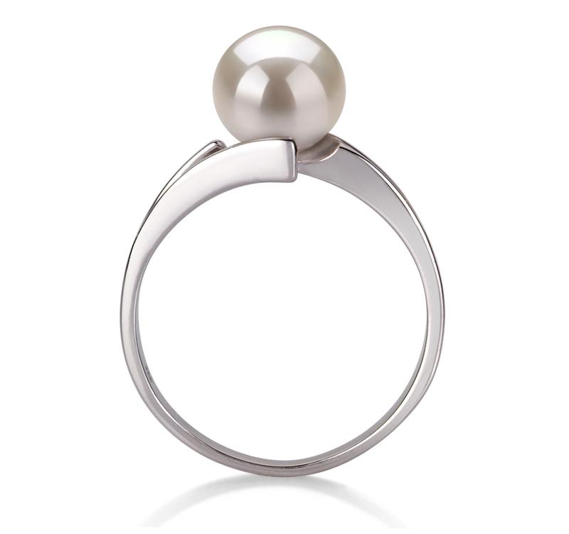 7-8mm AAA-Qualität Süßwasser Perlenringe in Jelena Weiß