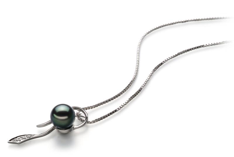 Anhänger mit schwarzen, 7-8mm großen Janischen Akoya Perlen in AA-Qualität , Jennifer