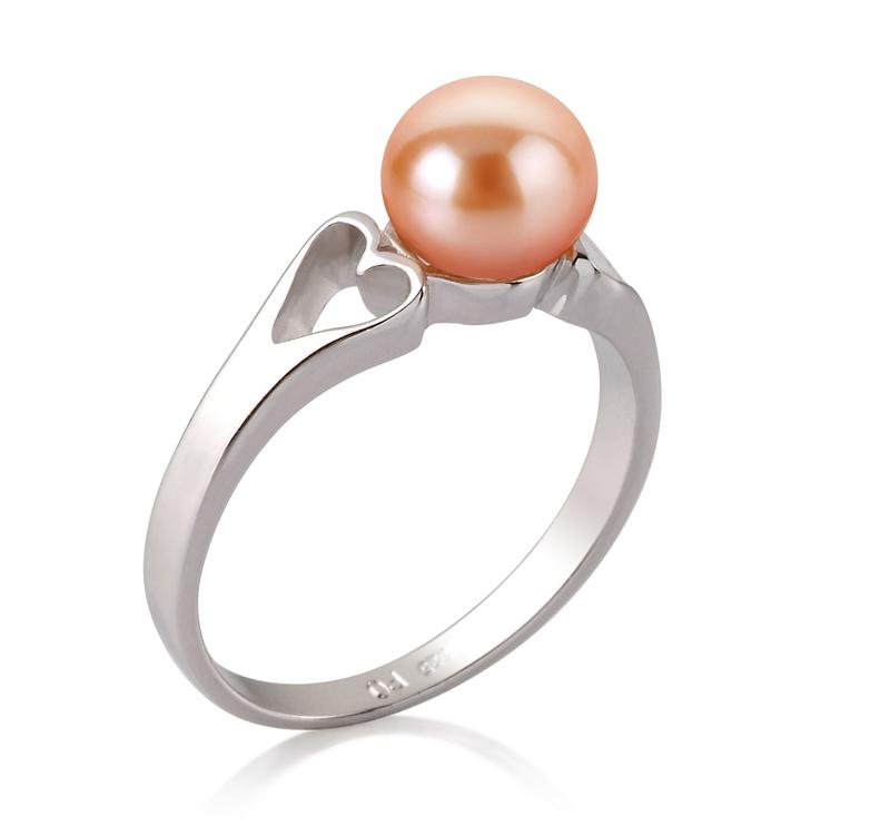 Ring mit rosafarbenen, 6-7mm großen Süßwasserperlen in AA-Qualität , Jessica