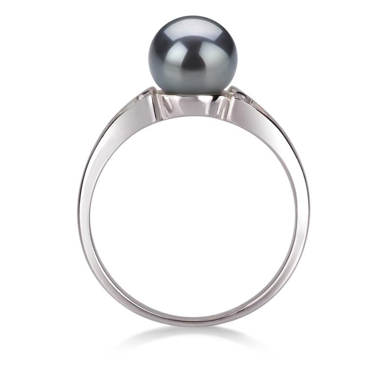 Ring mit schwarzen, 6-7mm großen Süßwasserperlen in AA-Qualität , Jessica