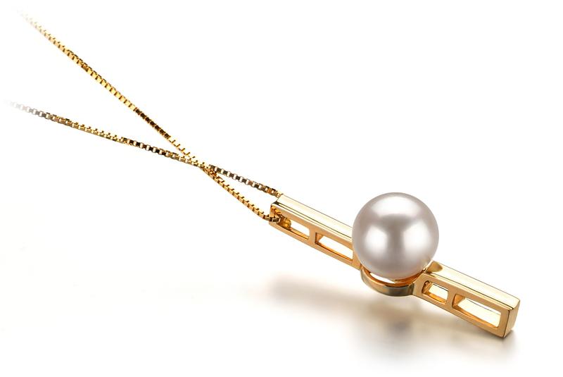 Anhänger mit weißen, 7-8mm großen Janischen Akoya Perlen in AA-Qualität , Johana