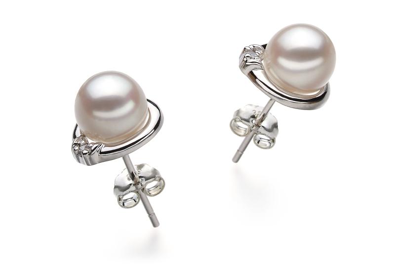 Paar Ohrringe mit weißen, 6-7mm großen Janischen Akoya Perlen in AA-Qualität , Jolanda