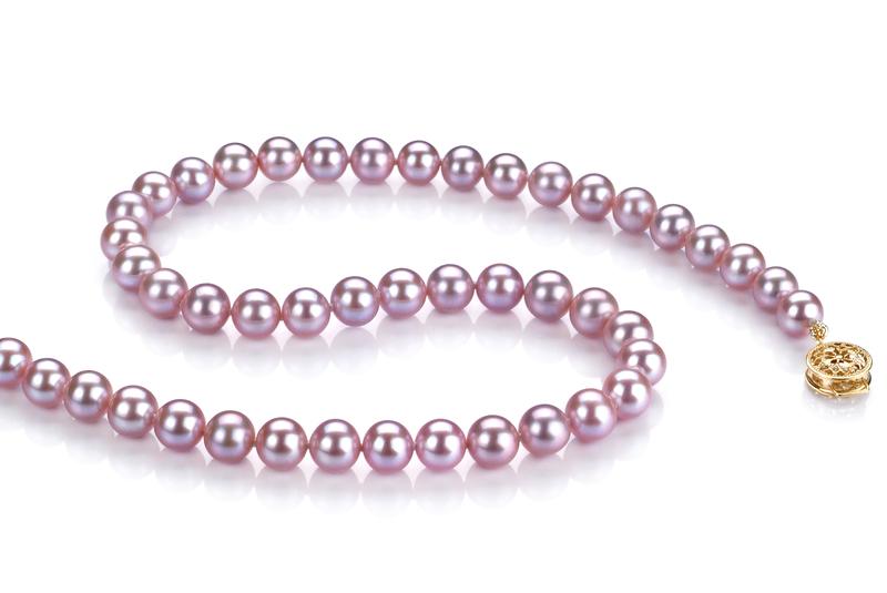 6-6.5mm AAAA-Qualität Süßwasser Perlenhalskette in Jolien Lavendel
