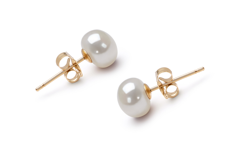 PearlsOnly - Paar Ohrringe mit weißen, 6-7mm großen Süßwasserperlen in AAA-Qualität , Kaike
