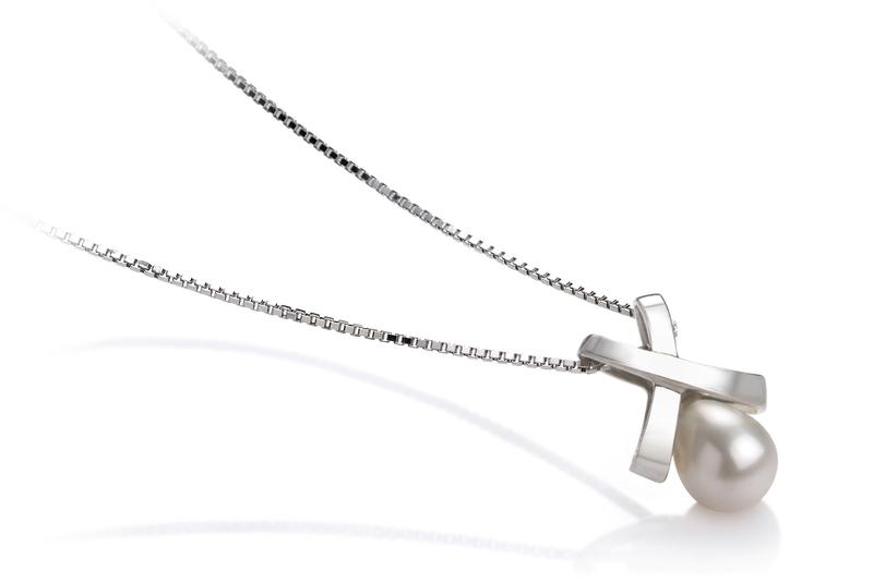 7-8mm AA-Qualität Süßwasser Perlenanhänger in Kaiserin Weiß