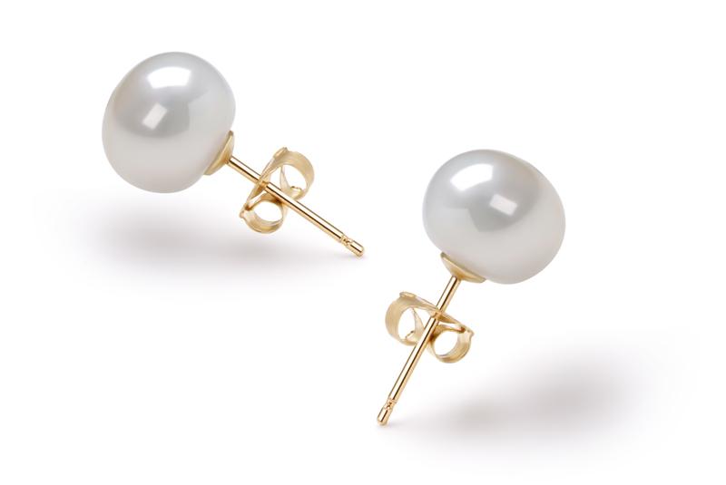Paar Ohrringe mit weißen, 7-8mm großen Süßwasserperlen in AAA-Qualität , Karima