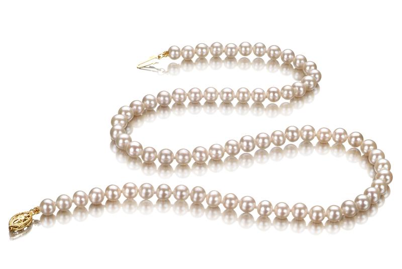 Halskette mit weißen, 5-5.5mm großen Süßwasserperlen in AA-Qualität , Katharina