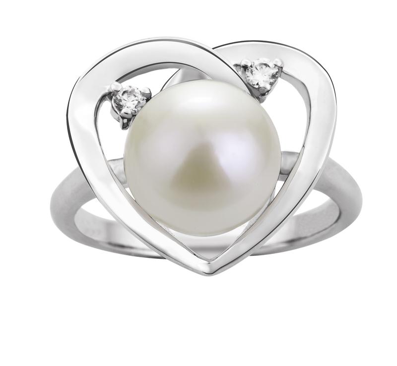Ring mit weißen, 9-10mm großen Süßwasserperlen in AA-Qualität , Katie Heart