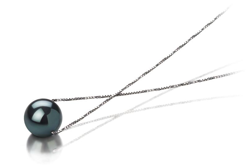 Anhänger mit schwarzen, 7-8mm großen Janischen Akoya Perlen in AAA-Qualität , Katja