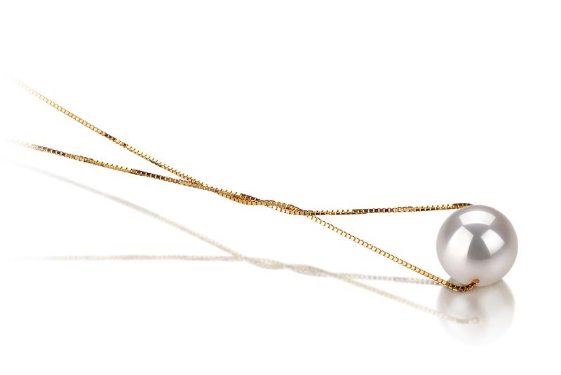 Anhänger mit weißen, 8-9mm großen Janischen Akoya Perlen in AAA-Qualität , Katja