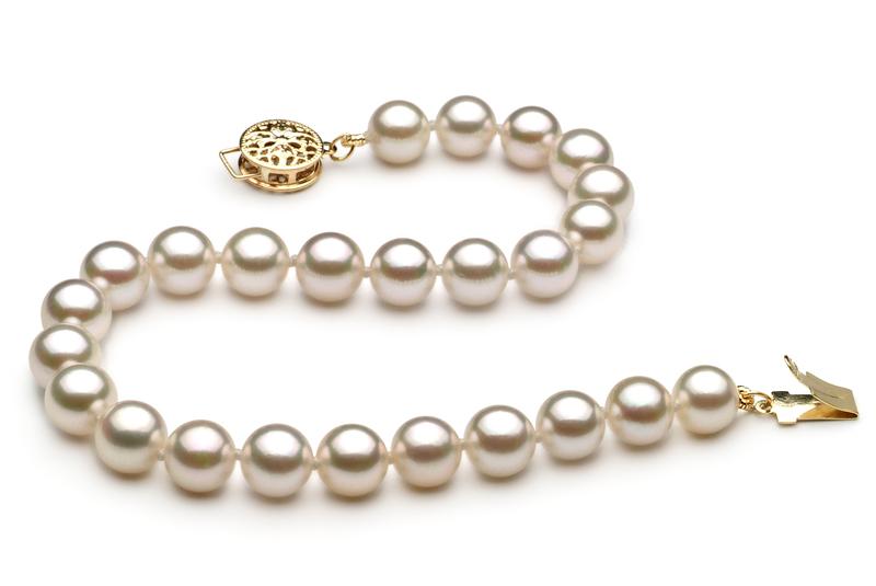 Armreifen mit weißen, 6-7mm großen Janischen Akoya Perlen in AA-Qualität , Kayleen