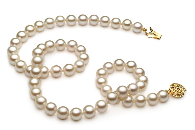 Halskette mit weißen, 6-7mm großen Janischen Akoya Perlen in AA-Qualität , Keike