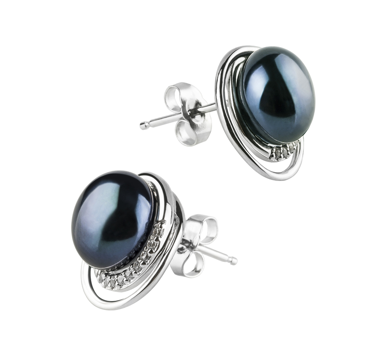 Paar Ohrringe mit schwarzen, 9-10mm großen Süßwasserperlen in AA-Qualität , Kelly