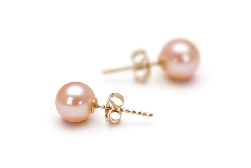 PearlsOnly - Paar Ohrringe mit rosafarbenen, 6-7mm großen Süßwasserperlen in AAAA-Qualität , Larina