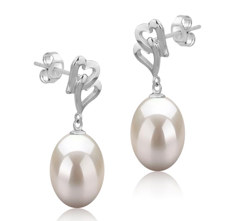 Paar Ohrringe mit weißen, 9-10mm großen Süßwasserperlen in AAA-Qualität , Laura