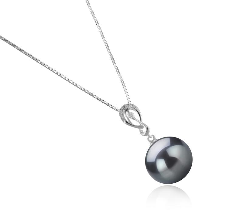 Anhänger mit schwarzen, 10-11mm großen Tihitianischen Perlen in AAA-Qualität , Lena