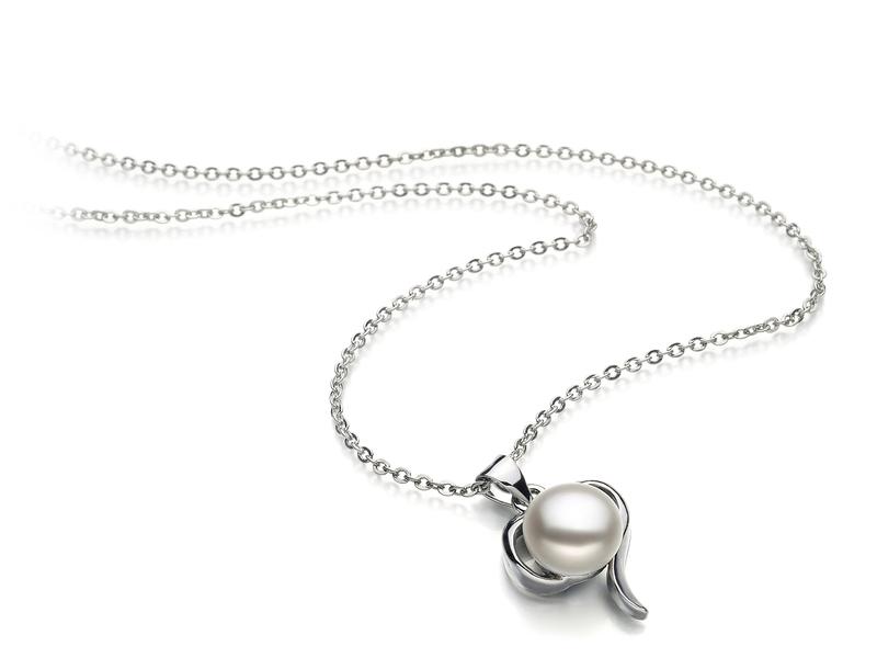 9-10mm AA-Qualität Süßwasser Perlenanhänger in Lena Weiß