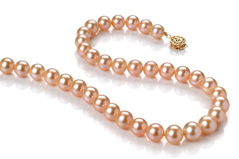 Halskette mit rosafarbenen, 8-8.5mm großen Süßwasserperlen in AAA-Qualität , Lenia
