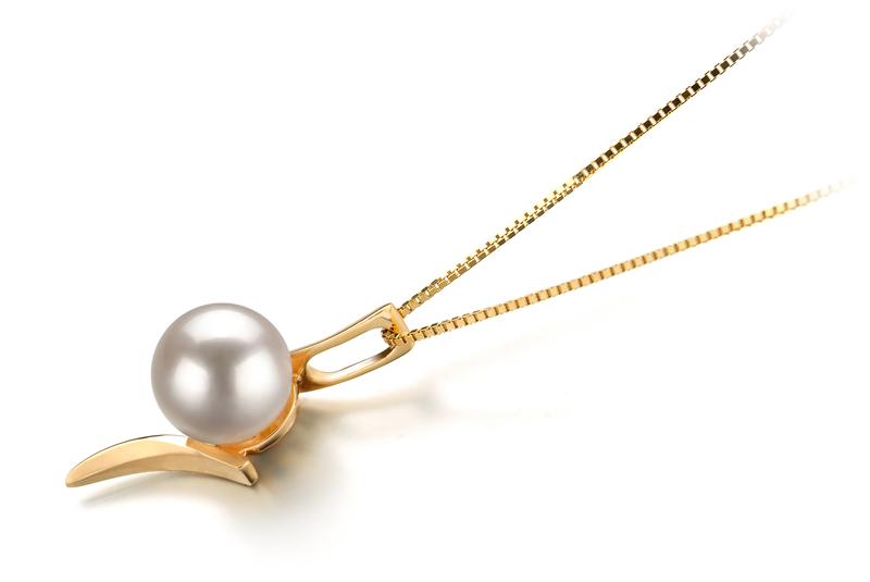 Anhänger mit weißen, 6-7mm großen Janischen Akoya Perlen in AA-Qualität , Liliana
