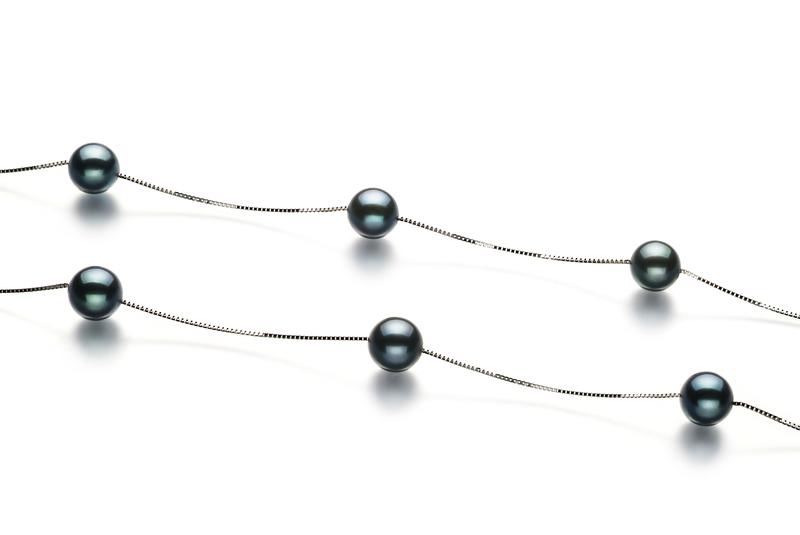 Halskette mit schwarzen, 6-7mm großen Janischen Akoya Perlen in AA-Qualität , Lilly