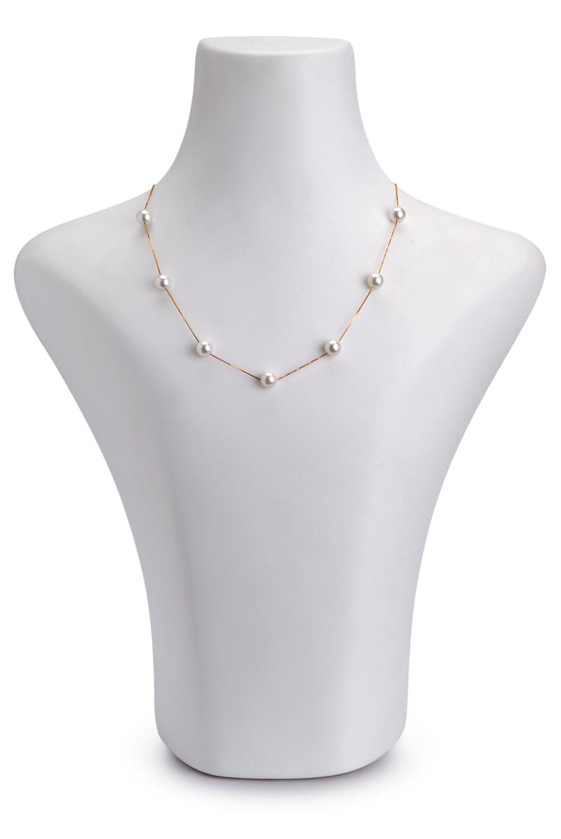 Halskette mit weißen, 7-8mm großen Janischen Akoya Perlen in AAA-Qualität , Lilly