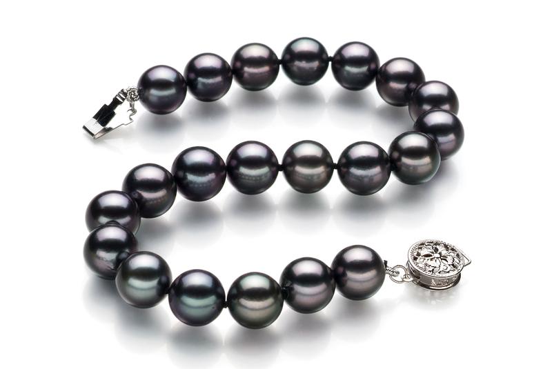 PearlsOnly - Armreifen mit schwarzen, 8-8.5mm großen Janischen Akoya Perlen in AAA-Qualität , Lisa