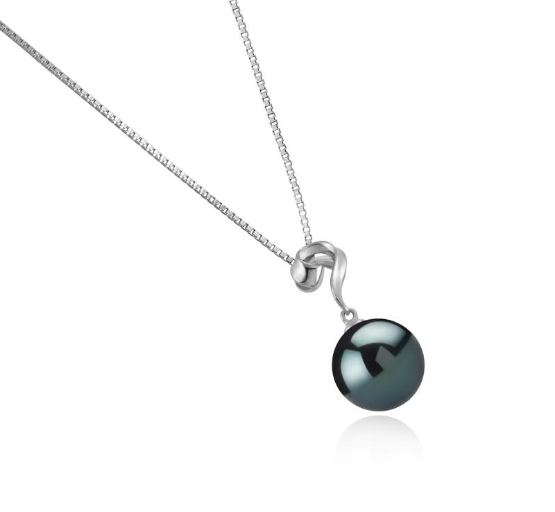 Anhänger mit schwarzen, 11-12mm großen Tihitianischen Perlen in AAA-Qualität , Lorna