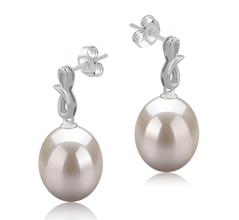 Paar Ohrringe mit weißen, 9-10mm großen Süßwasserperlen in AAA-Qualität , Lucille