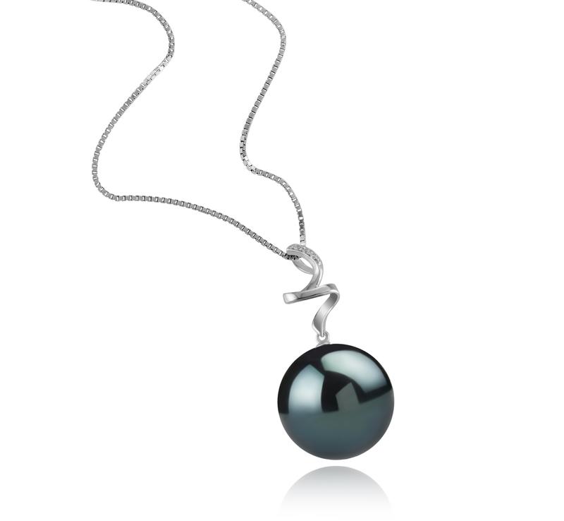 Anhänger mit schwarzen, 12-13mm großen Tihitianischen Perlen in AAA-Qualität , Lydia