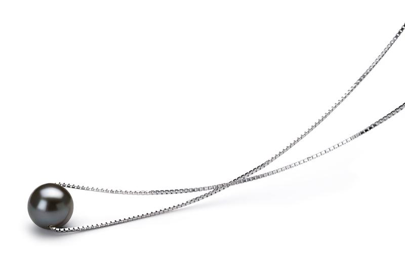 PearlsOnly - Anhänger mit schwarzen, 8-9mm großen Süßwasserperlen in AA-Qualität , Madeleine