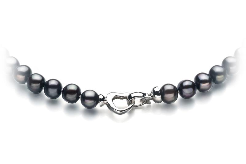 Halskette mit schwarzen, 8-9mm großen Süßwasserperlen in A-Qualität , Madlen