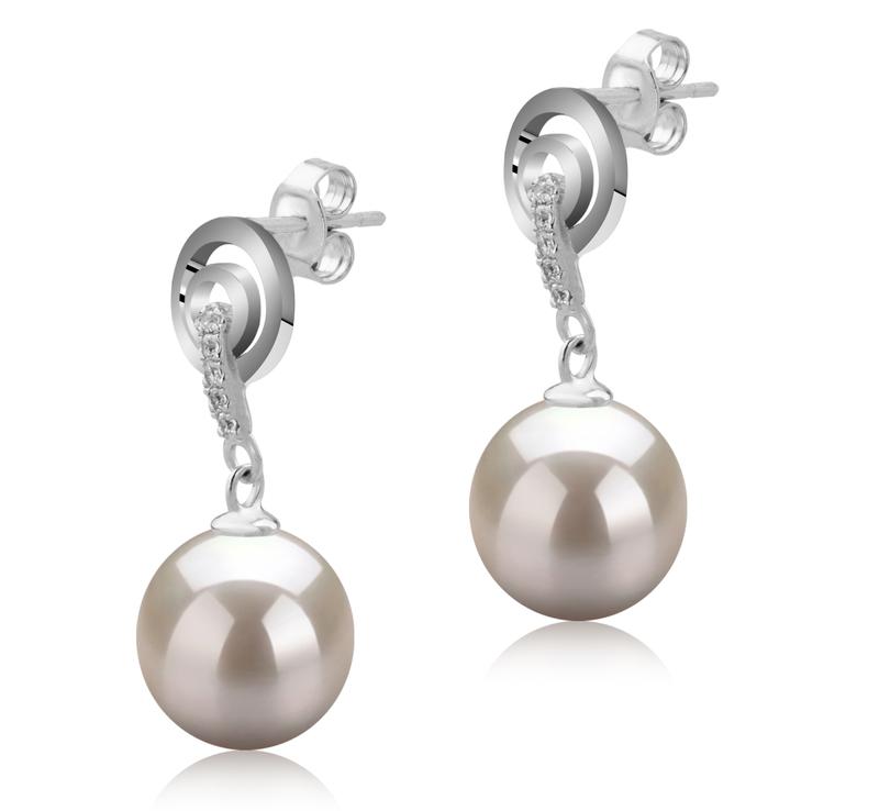 8-9mm AAAA-Qualität Süßwasser Paar Ohrringe in Madonna Weiß