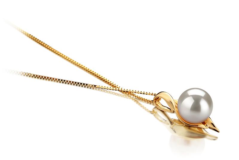 Anhänger mit weißen, 6-7mm großen Janischen Akoya Perlen in AAA-Qualität , Maike