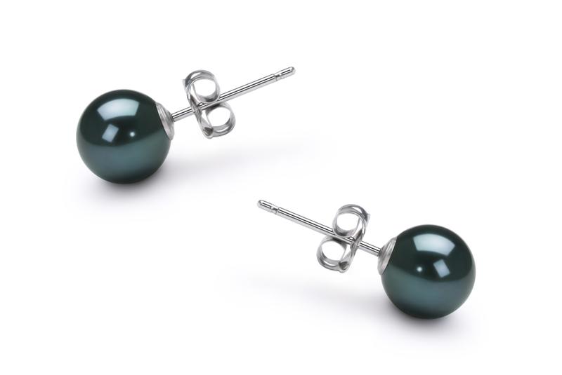 Paar Ohrringe mit schwarzen, 6-7mm großen Janischen Akoya Perlen in AA-Qualität , Mara