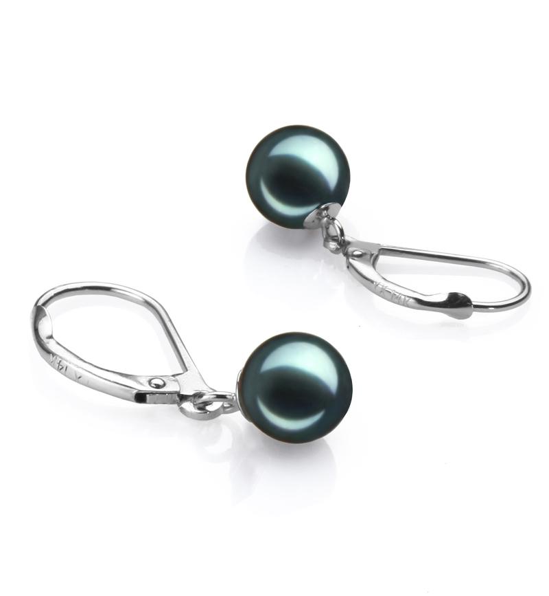 Paar Ohrringe mit schwarzen, 7-8mm großen Janischen Akoya Perlen in AA-Qualität , Marcella