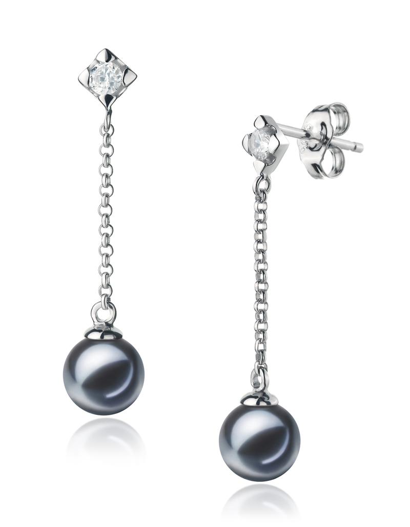 Paar Ohrringe mit schwarzen, 6-7mm großen Süßwasserperlen in AAAA-Qualität , Maren