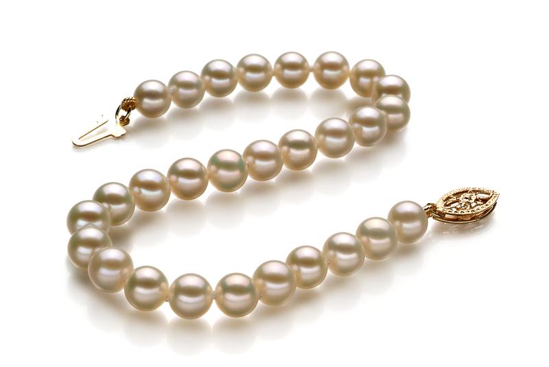 PearlsOnly - Armreifen mit weißen, 5.5-6mm großen Süßwasserperlen in AAA-Qualität , Marie