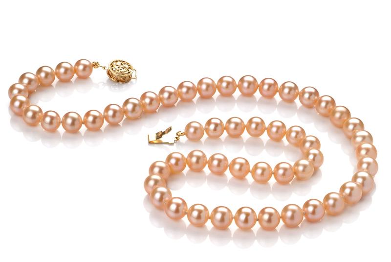 PearlsOnly - Halskette mit rosafarbenen, 6-6.5mm großen Süßwasserperlen in AAAA-Qualität , Mariel