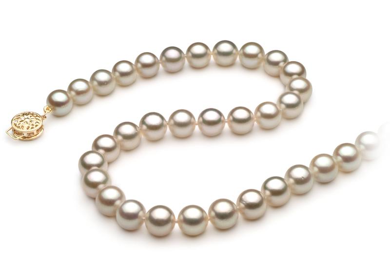 Halskette mit weißen, 7.5-8mm großen Janischen Akoya Perlen in AA-Qualität , Marisa